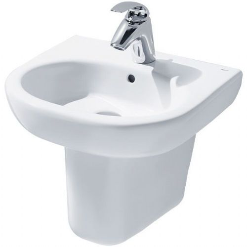 Roca Meridian-N Round Basin With Semi Pedestal - 450mm - 1 Tap Hole - White
